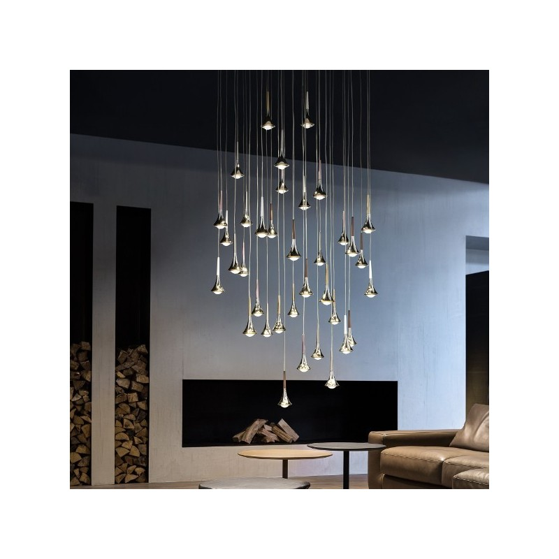 Studio italia design rain suspension led goutte eau design for Design italia